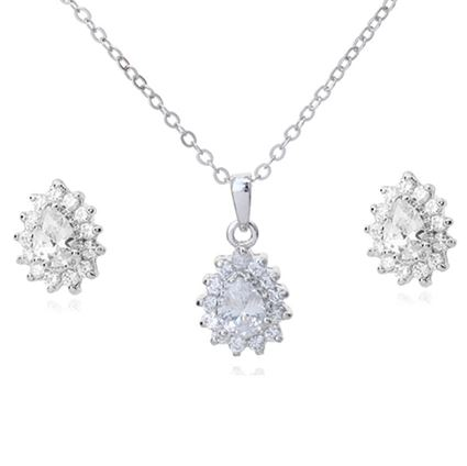 Picture of Crystal Earring Necklace Set - White Zircon Crystal