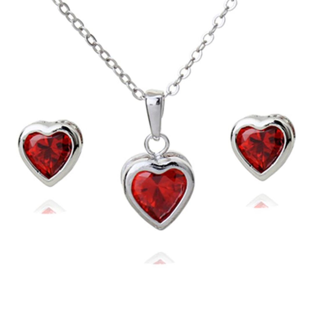 Picture of Heart Shaped Crystal Earring Necklace Set - Red Zircon Crystal