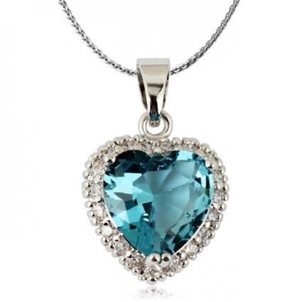 Picture of Heart Shaped Crystal Pendant Necklace - Blue Zircon Crystal