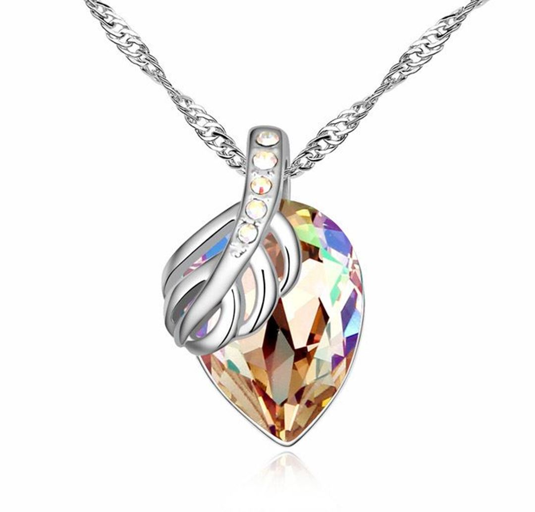 Picture of Leaf Crystal Necklace - Yellow with Multi Color Austrian Crystal