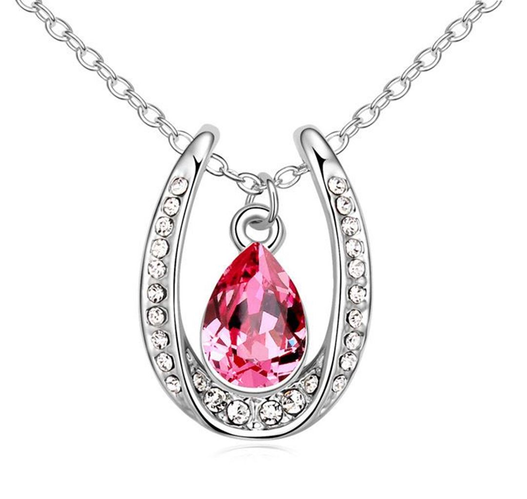 Picture of Lucky Horseshoe with Crystal Necklace - Rose Color Austrian Crystal