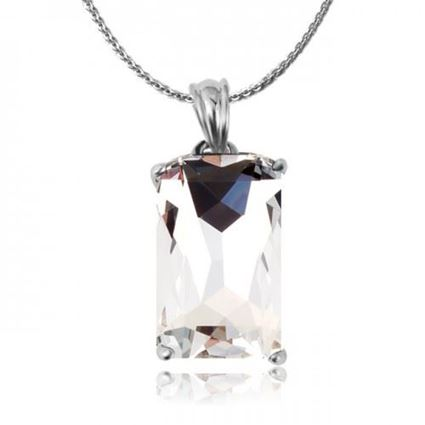 Picture of Square Shaped Crystal Pendant Necklace - White Zircon Crystal