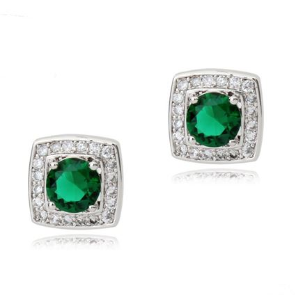 Picture of Stud Earrings - Green Zircon Crystal
