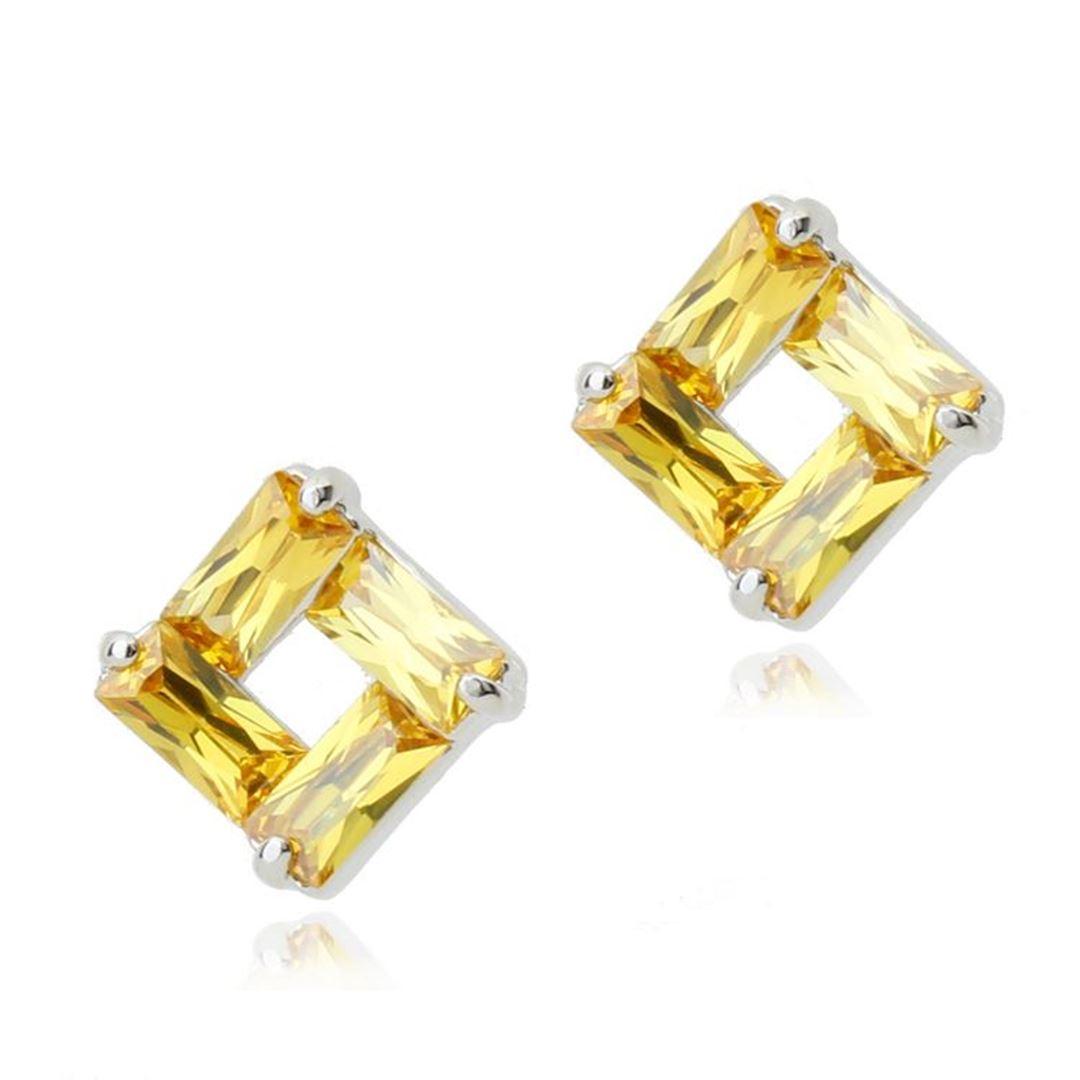 Picture of Stud Earrings - Yellow Zircon Crystal
