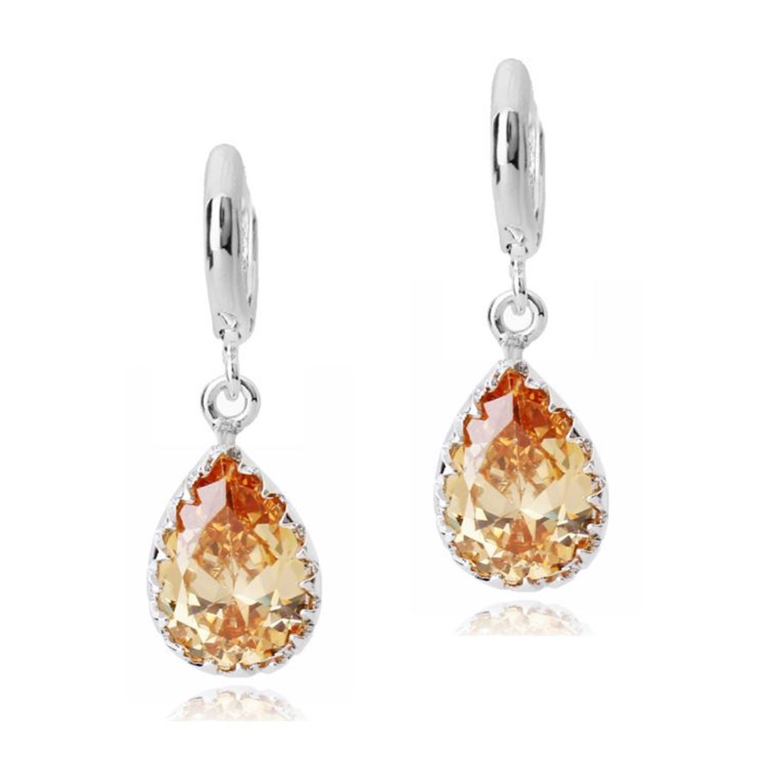 Picture of Teardrop Earrings - Yellow Zircon Crystal